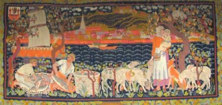 Wandteppich mit einer Stadtansicht von Lauenburg an der Elbe