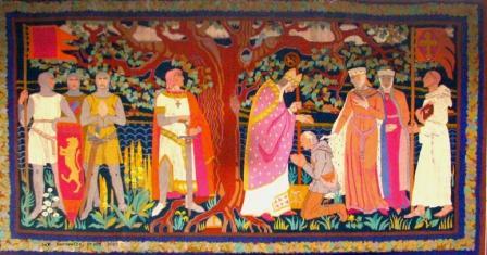 Wandteppich mit einem Motiv  zur Christianisierung in der Zeit von Heinrich dem Löwen
