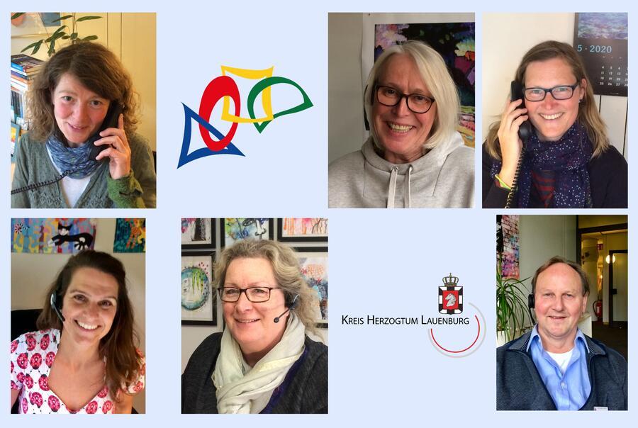 Von links: Ulrike Brechler, Claudia Apel, Waltraud Glahn, Erk Jacoby, Matthias Heinsohn-Krug, Nina Jeske; Silvia Block.